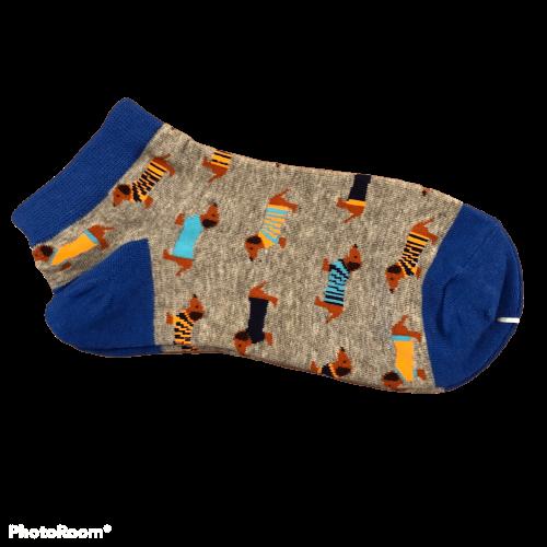 Blauwe korte teckel sokken