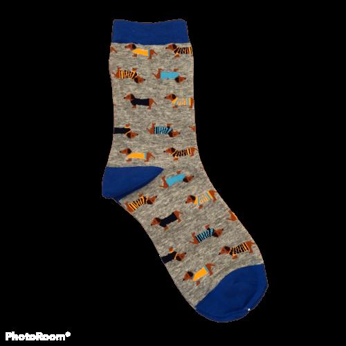 Lange blauwe teckel sokken