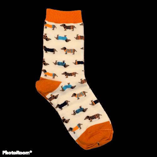 Oranje lange teckel sokken