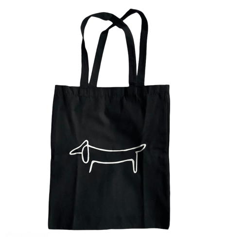 zwarte teckel tas wit silhouette