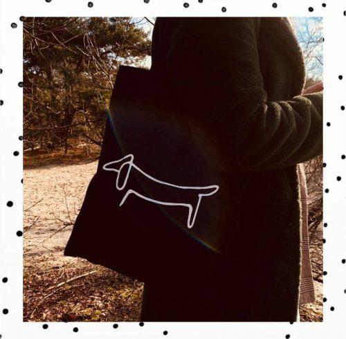 Zwarte teckel tas met wit teckel silhouette