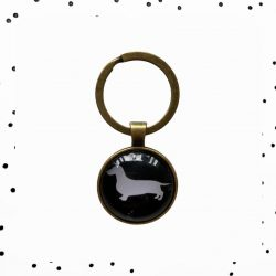 gouden teckel sleutelhanger